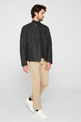 Padded faux leather biker jacket, BLACK, detail