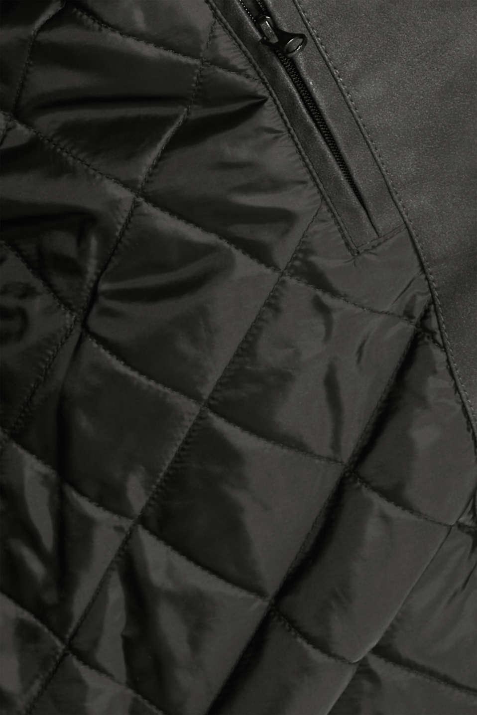 Padded faux leather biker jacket, BLACK, detail image number 4
