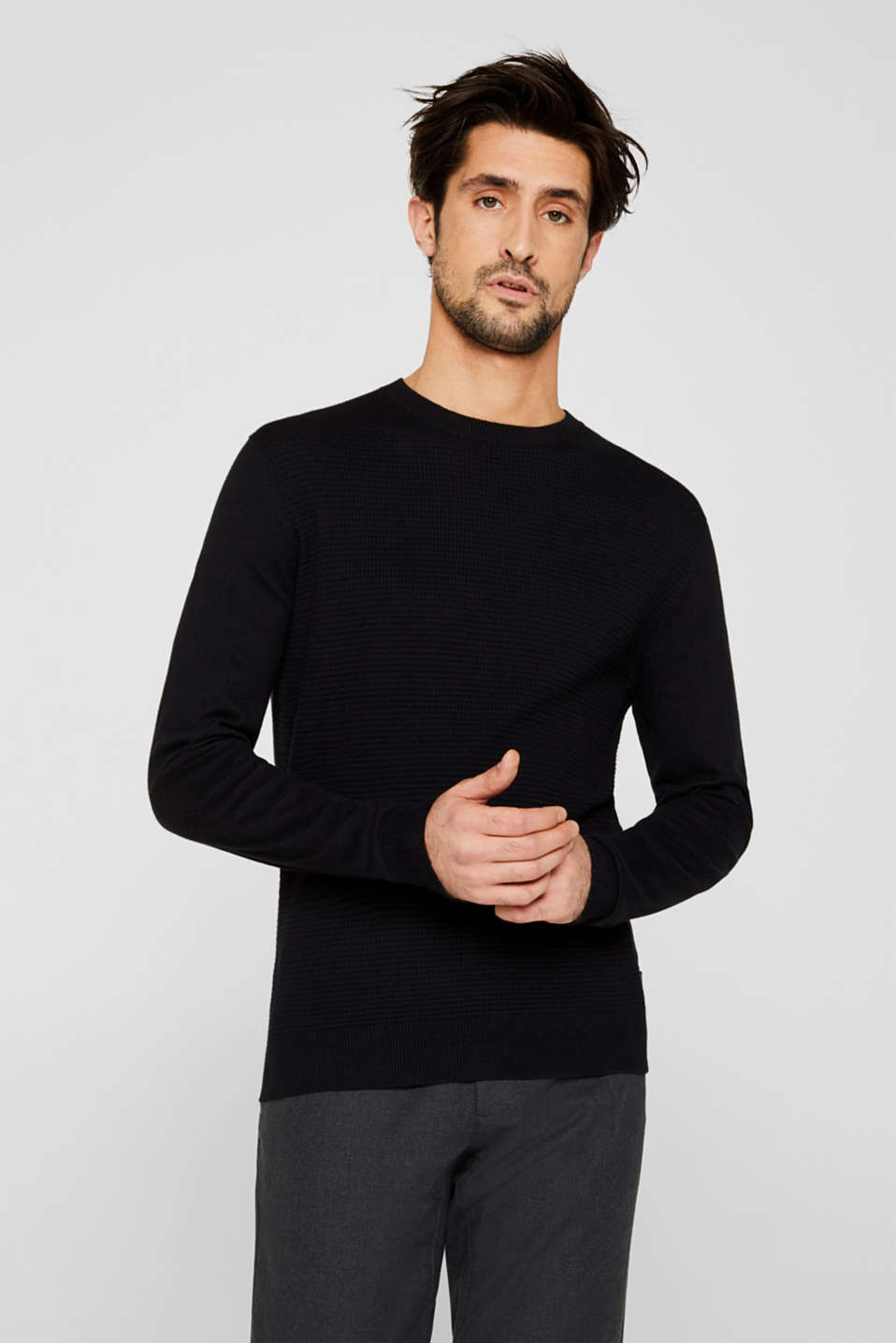 Cashmere blend: textured knit jumper, BLACK, detail image number 0