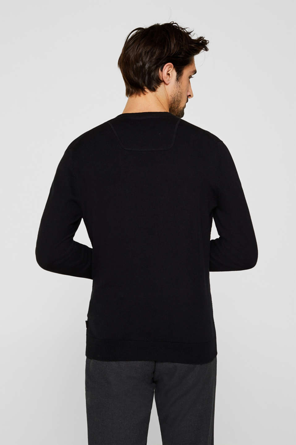 Cashmere blend: textured knit jumper, BLACK, detail image number 3