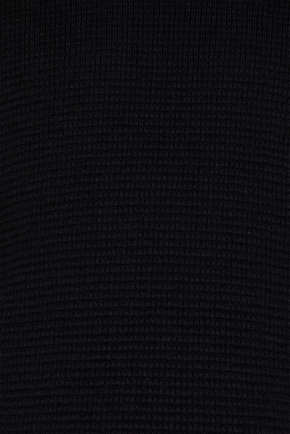 Cashmere blend: textured knit jumper, BLACK, detail image number 2
