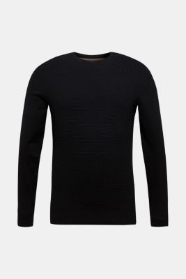 Cashmere blend: textured knit jumper, BLACK, detail