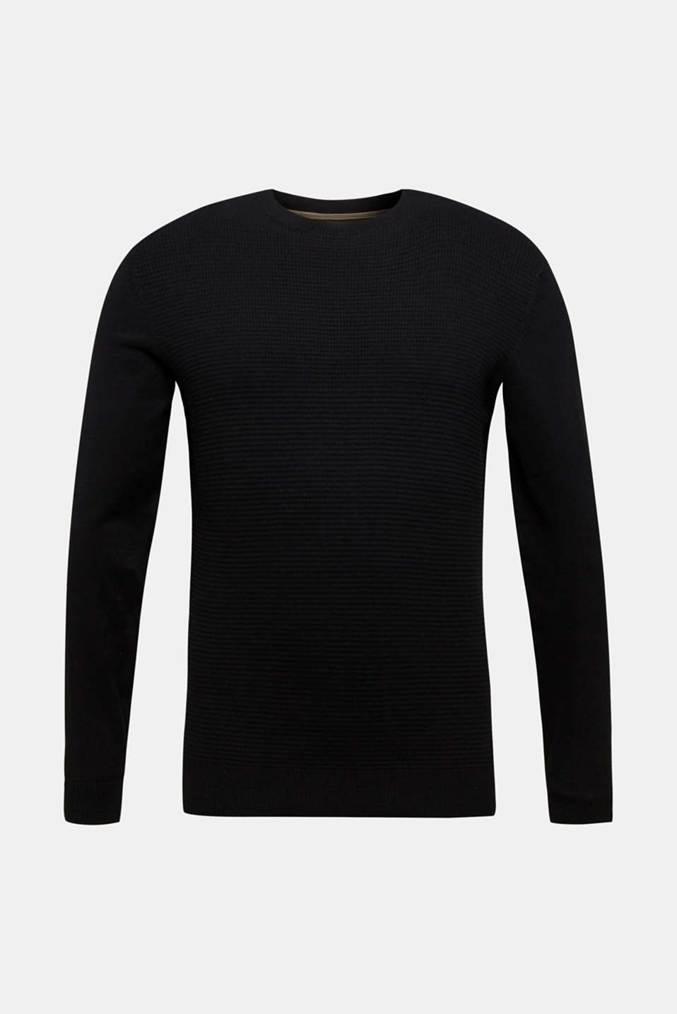 Cashmere blend: textured knit jumper, BLACK, detail image number 5