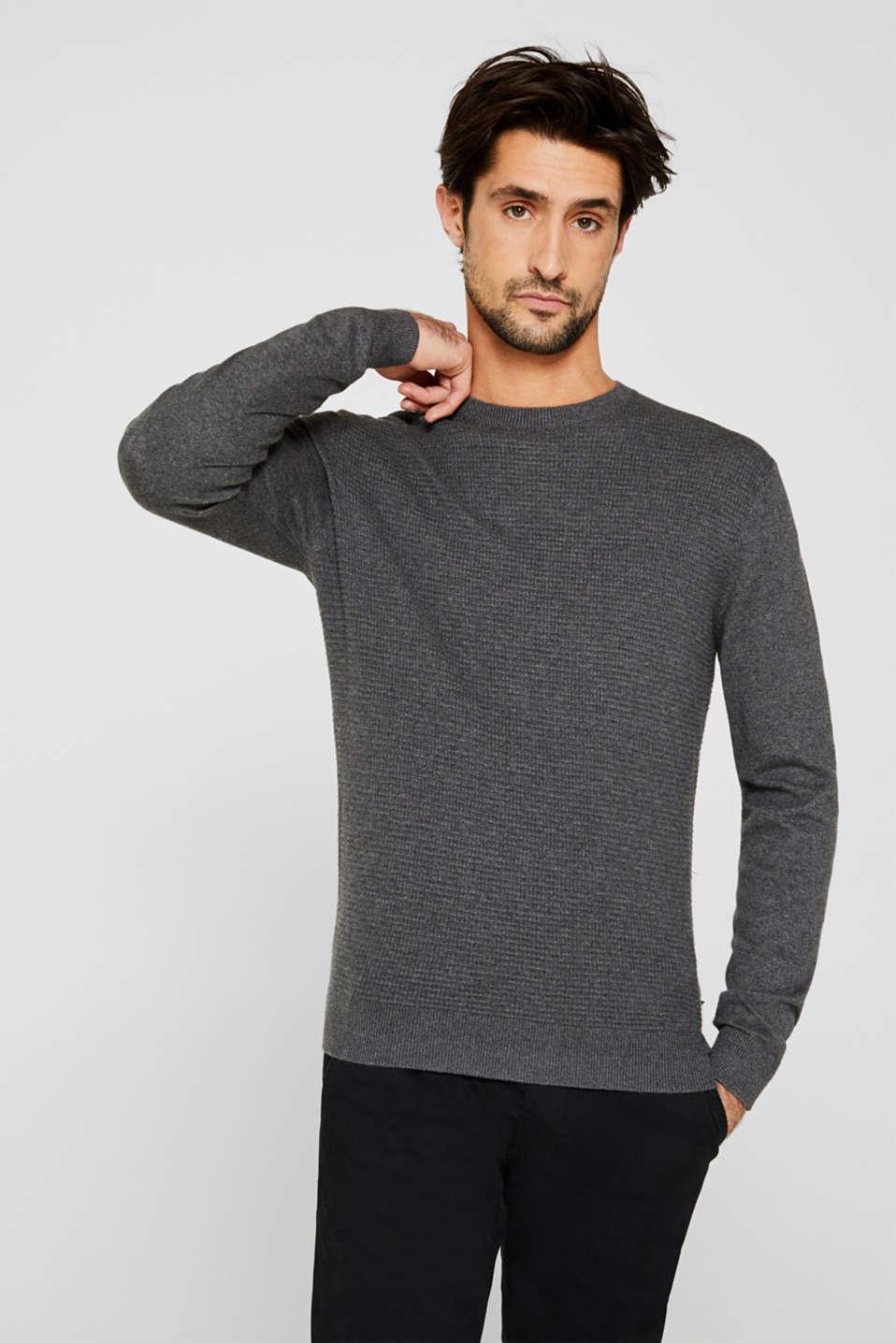 Cashmere blend: textured knit jumper, DARK GREY 5, detail image number 0