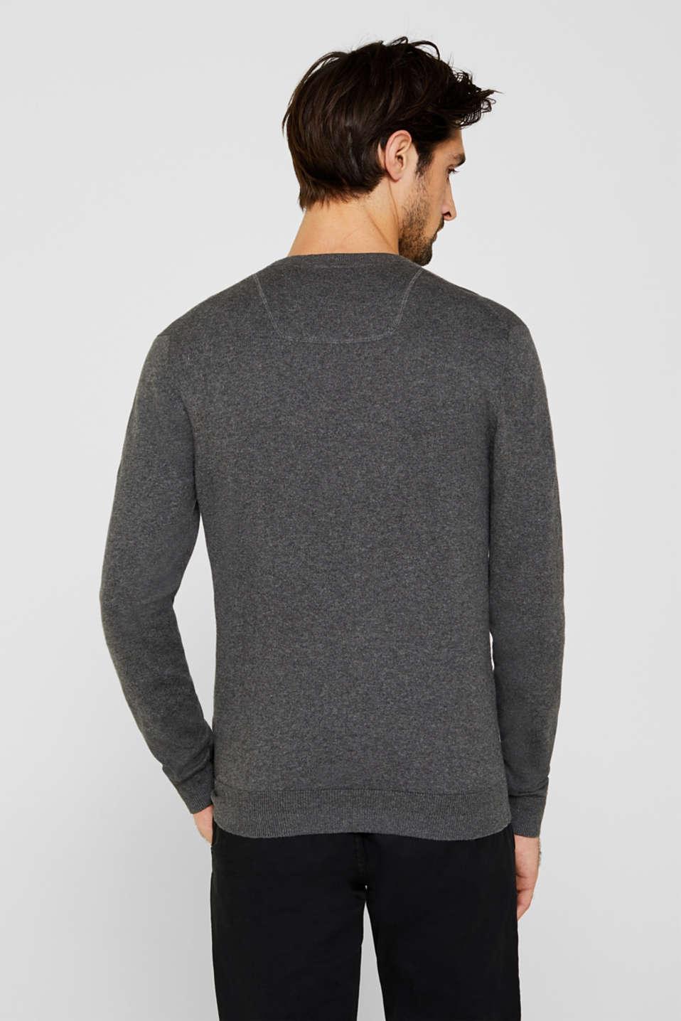 Cashmere blend: textured knit jumper, DARK GREY 5, detail image number 3