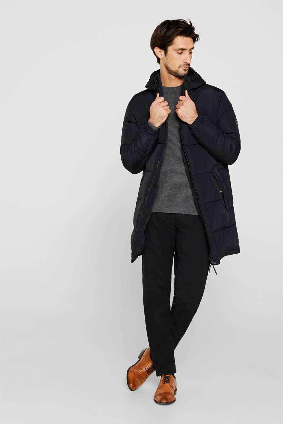 Cashmere blend: textured knit jumper, DARK GREY 5, detail image number 1