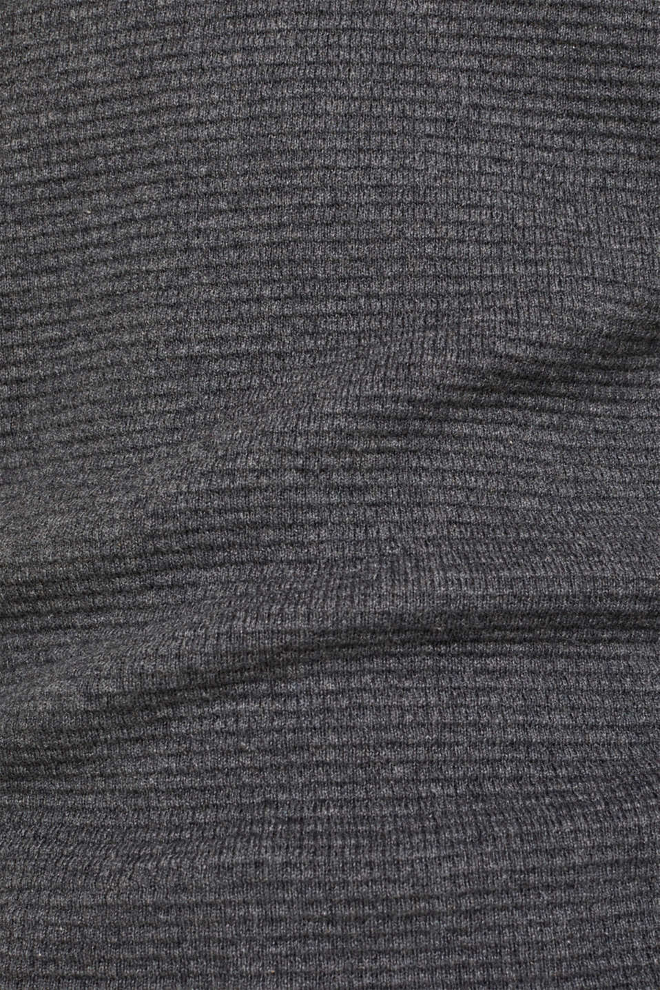 Cashmere blend: textured knit jumper, DARK GREY 5, detail image number 2