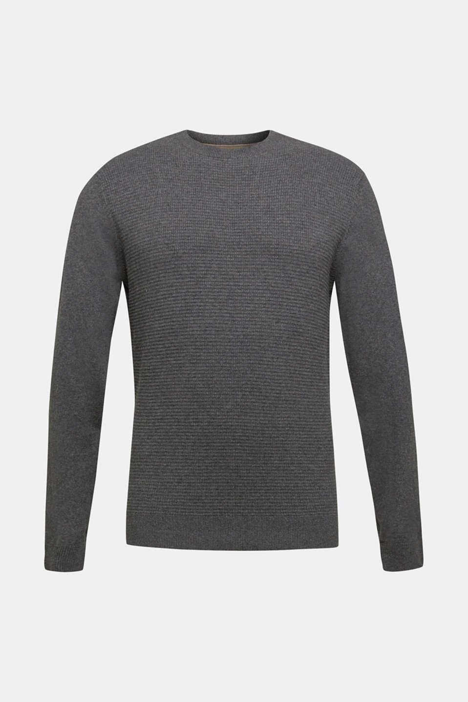 Cashmere blend: textured knit jumper, DARK GREY 5, detail image number 5
