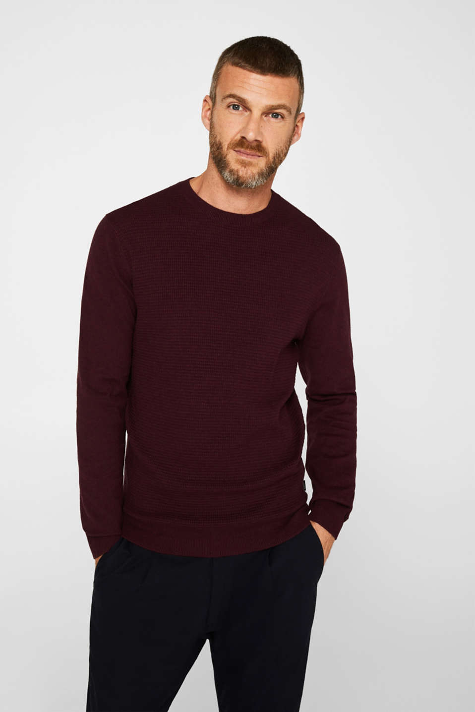 Cashmere blend: textured knit jumper, BORDEAUX RED 5, detail image number 0