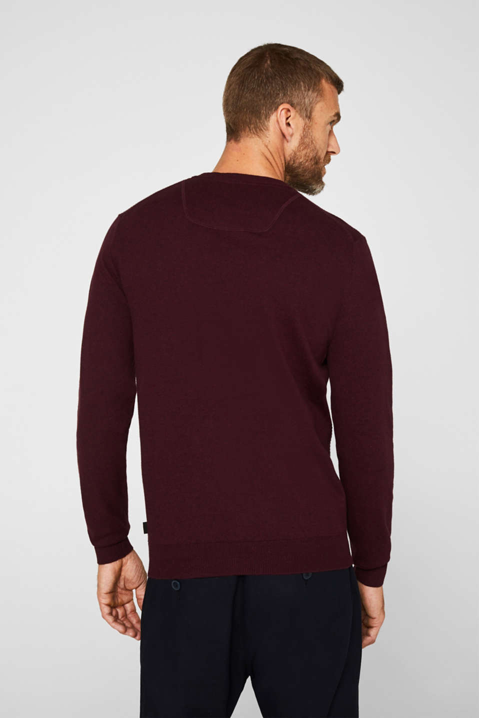 Cashmere blend: textured knit jumper, BORDEAUX RED 5, detail image number 3