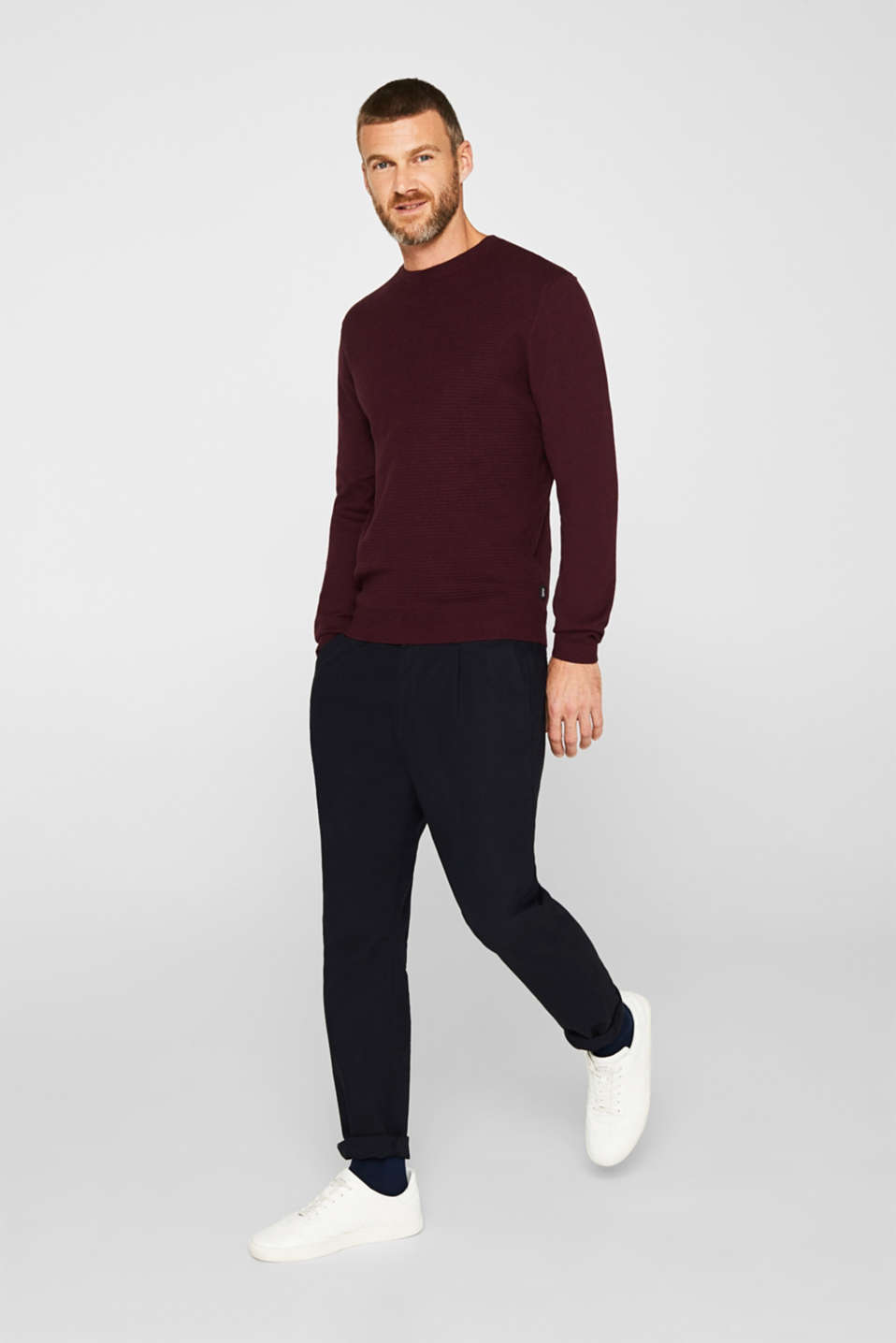 Cashmere blend: textured knit jumper, BORDEAUX RED 5, detail image number 7