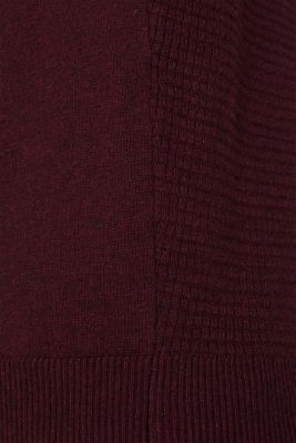 Cashmere blend: textured knit jumper, BORDEAUX RED 5, detail