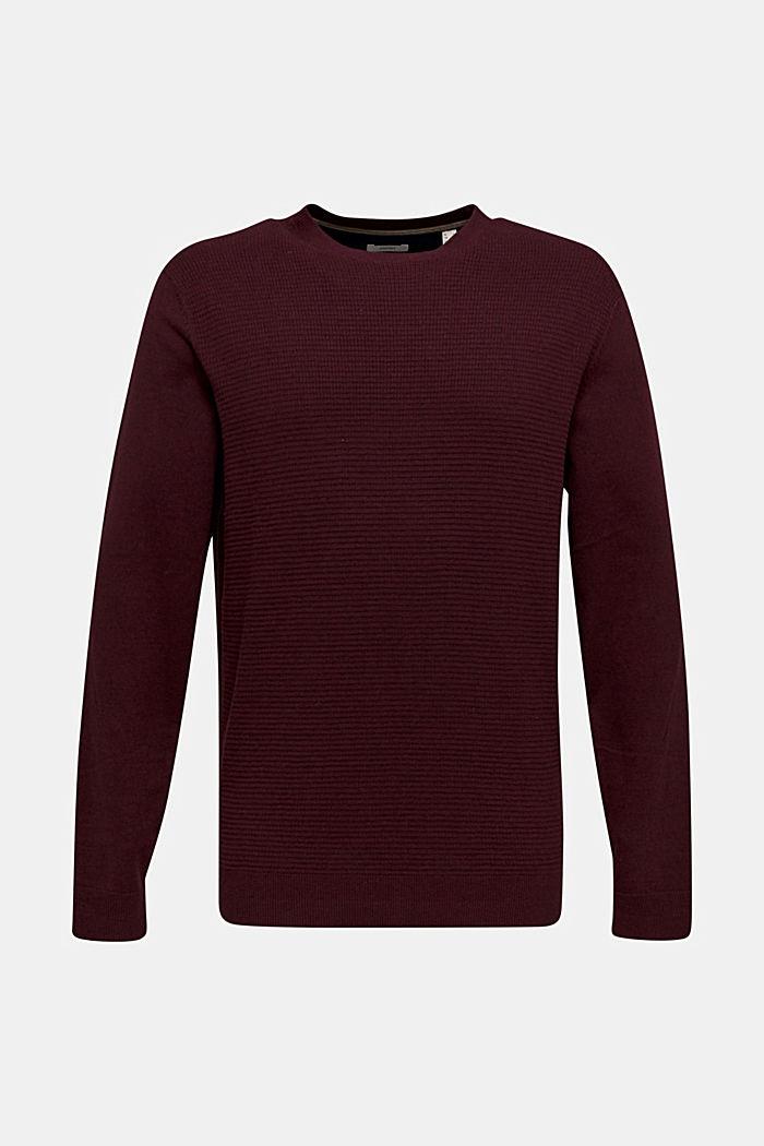 Cashmere blend: textured knit jumper, BORDEAUX RED 5, detail image number 0