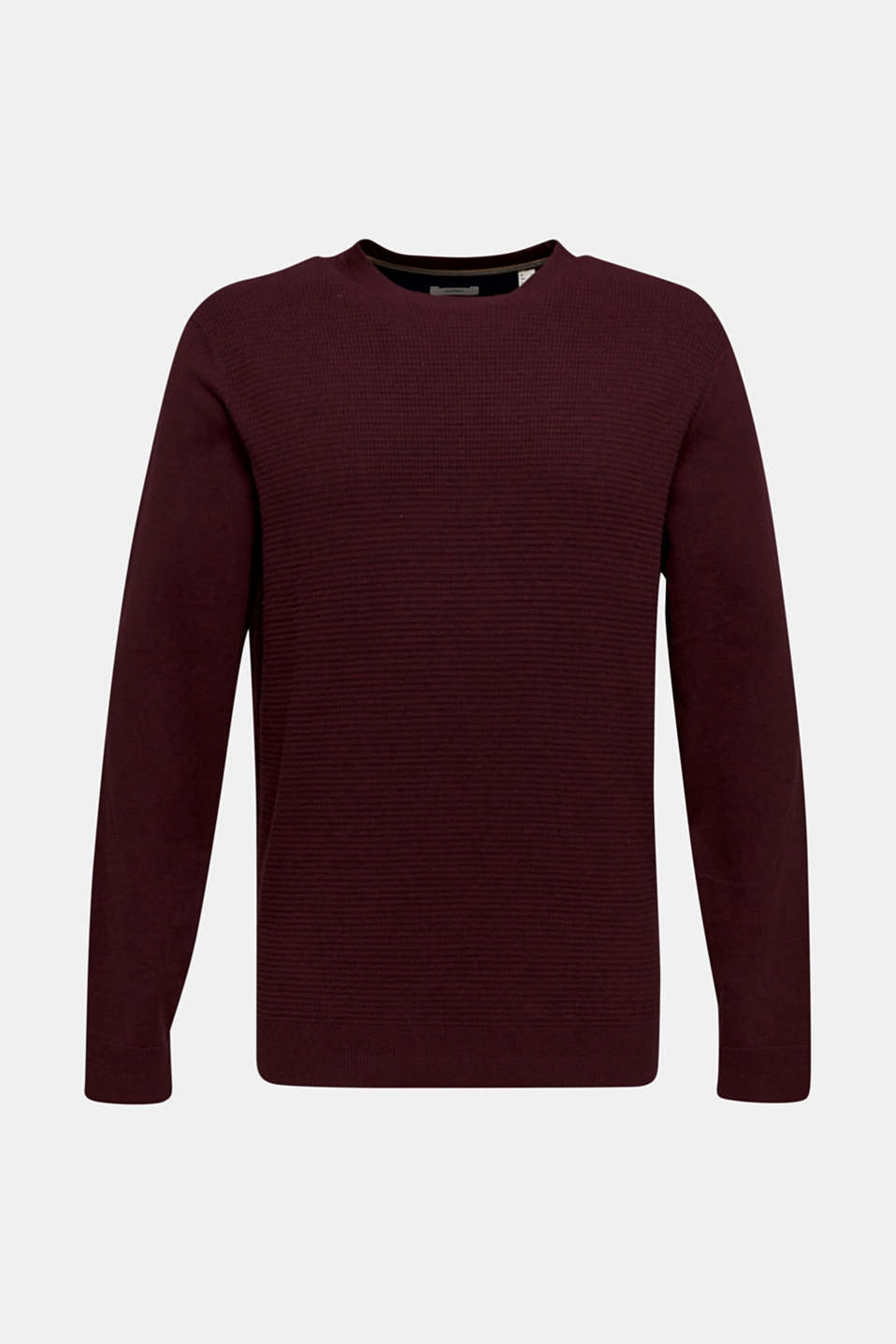 Cashmere blend: textured knit jumper, BORDEAUX RED 5, detail image number 8