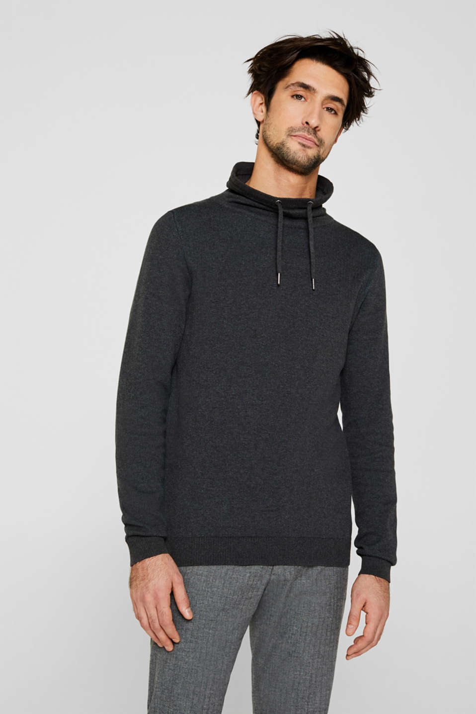 Sweatshirt with a drawstring collar, 100% cotton, ANTHRACITE 5, detail image number 0