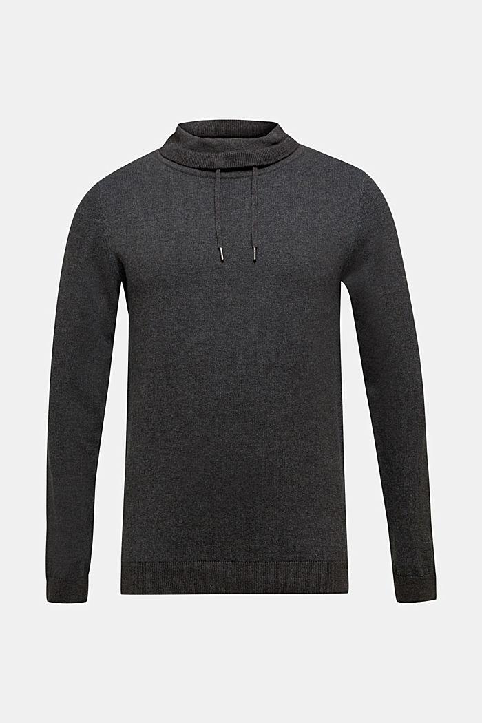 Sweatshirt met col, 100% katoen, ANTHRACITE 5, detail image number 0