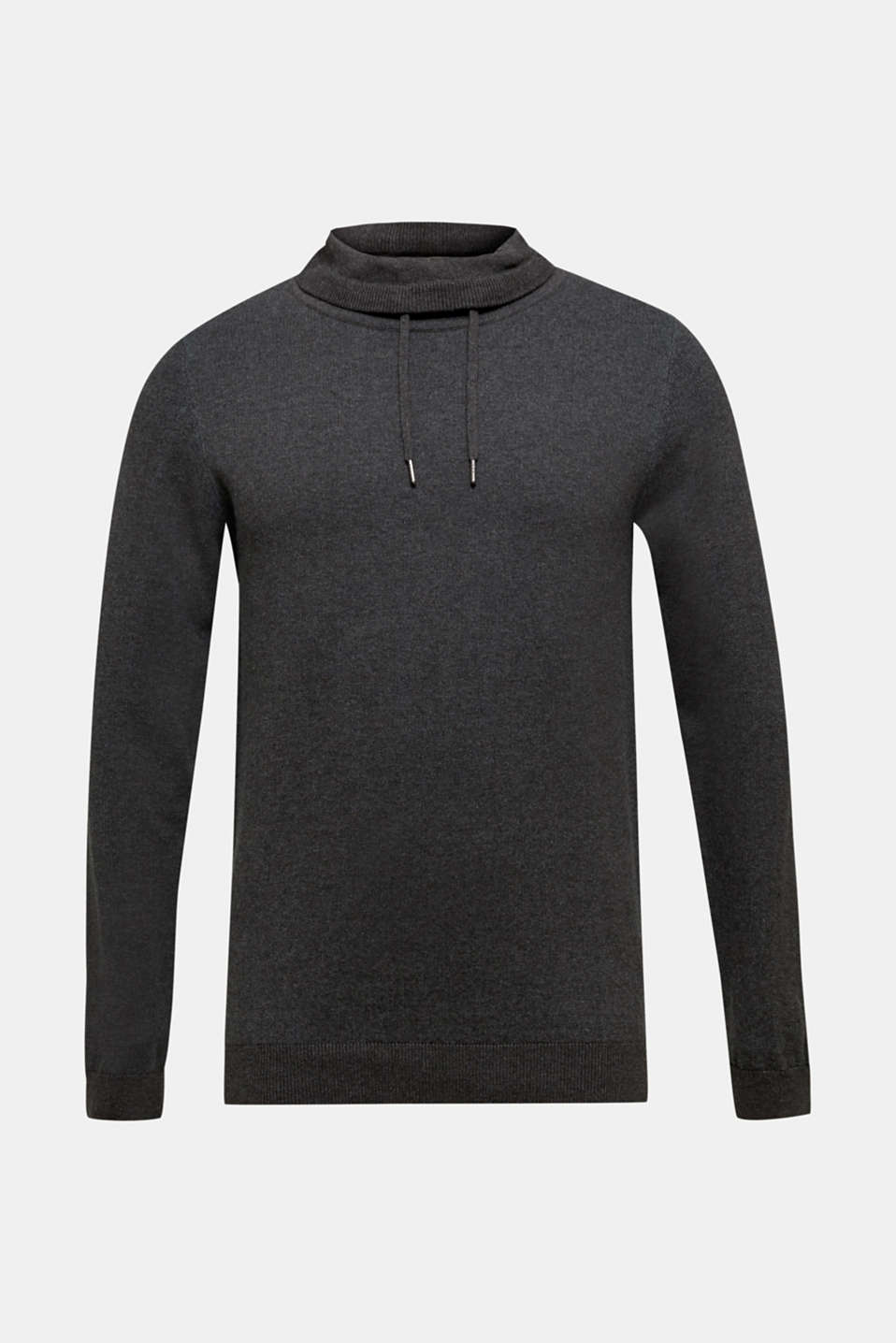 Sweatshirt with a drawstring collar, 100% cotton, ANTHRACITE 5, detail image number 4