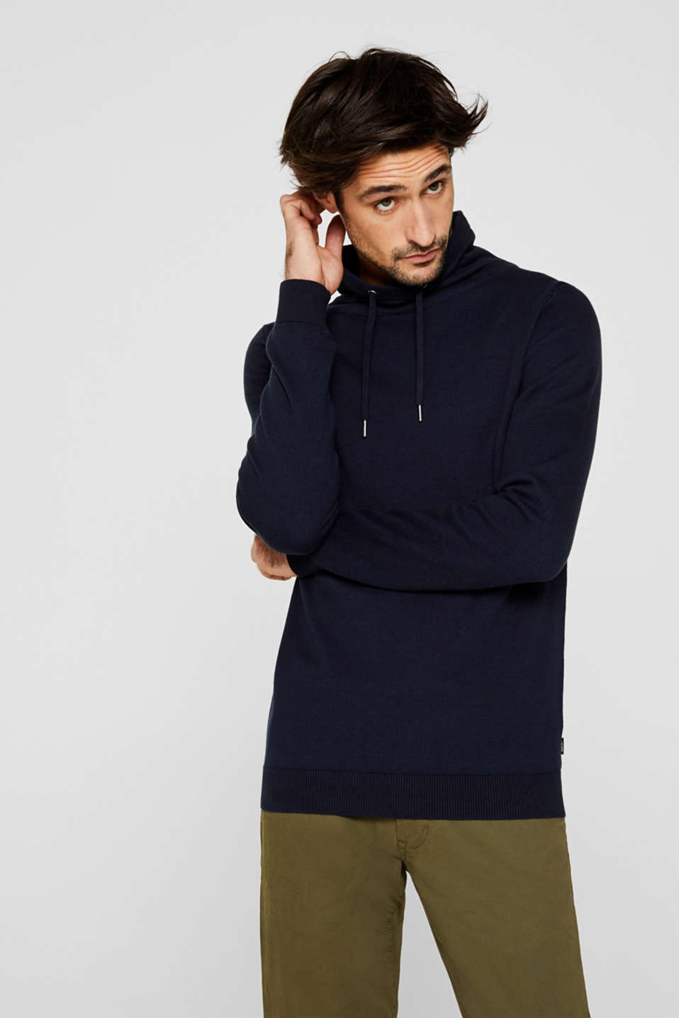Esprit - Sweatshirt with a drawstring collar, 100% cotton