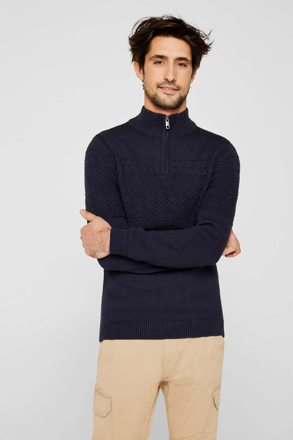 Textured knit troyer jumper in 100% cotton, NAVY, detail image number 0