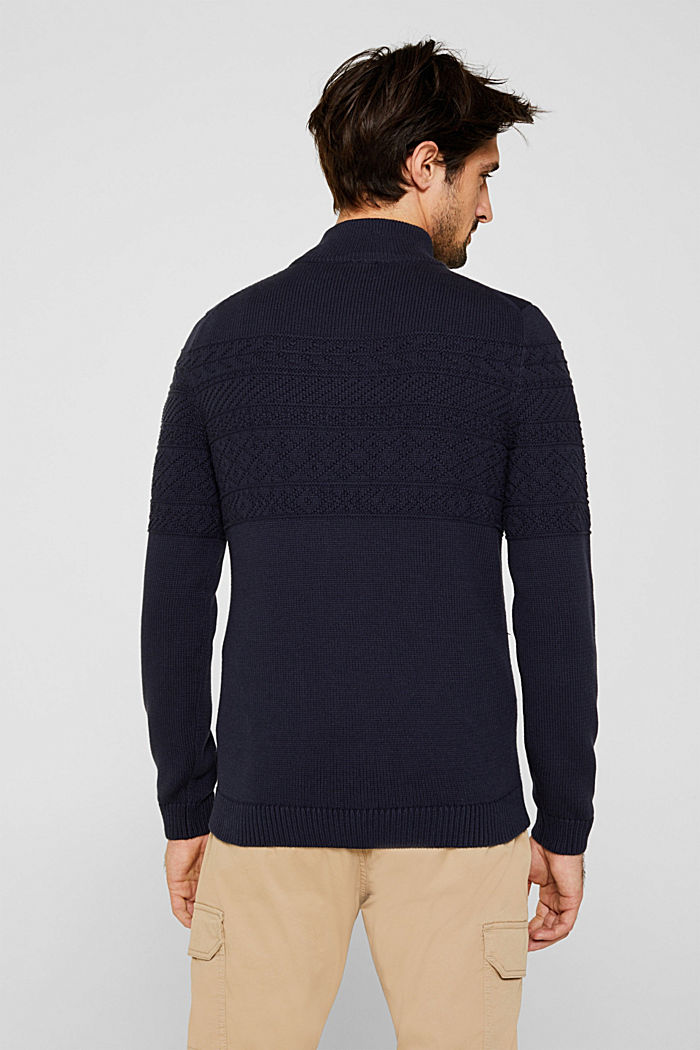 Textured knit troyer jumper in 100% cotton, NAVY, detail image number 3