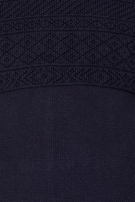 Textured knit troyer jumper in 100% cotton, NAVY, detail