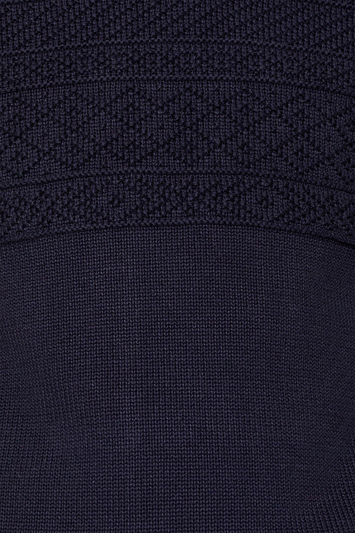 Textured knit troyer jumper in 100% cotton, NAVY, detail image number 4