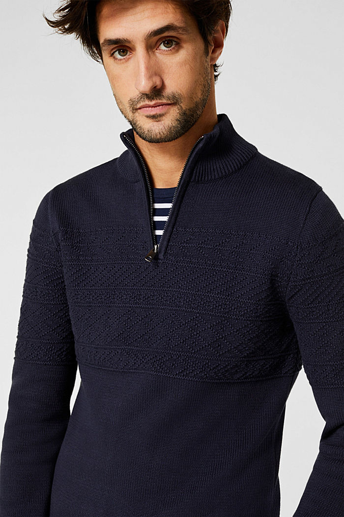 Textured knit troyer jumper in 100% cotton, NAVY, detail image number 5
