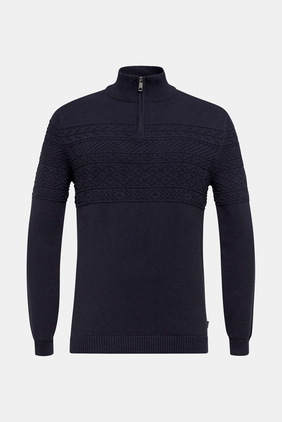 Textured knit troyer jumper in 100% cotton, NAVY, detail image number 6