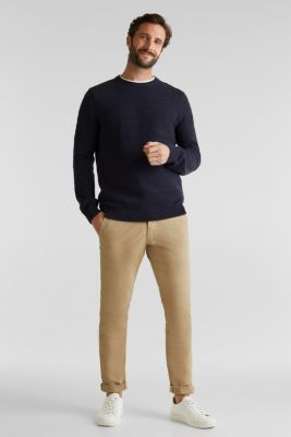 Textured knit jumper made of 100% cotton, NAVY, detail