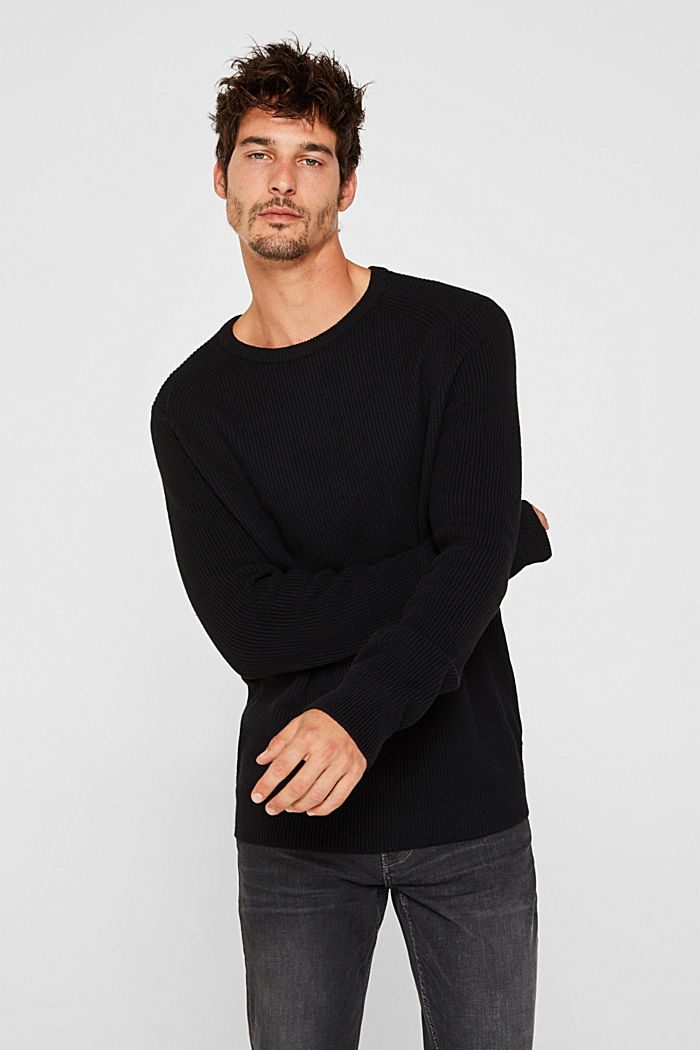 Wool blend: jumper knit in rib stitch, BLACK, detail image number 0