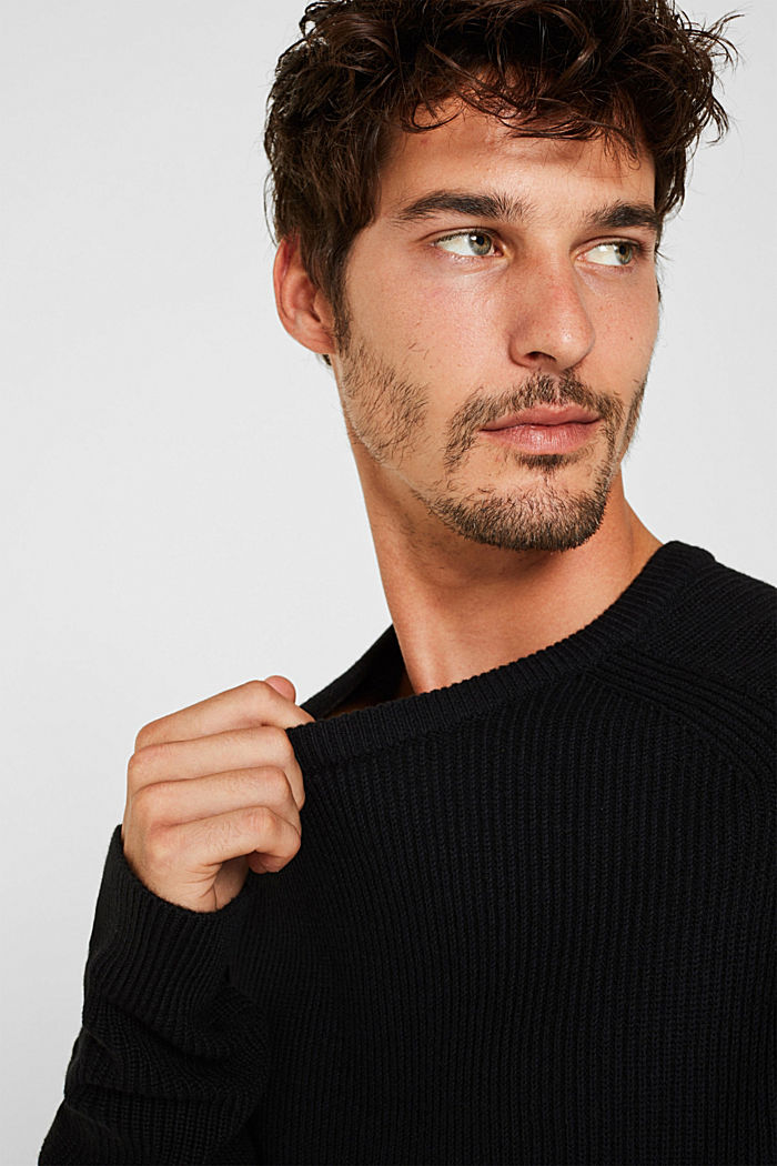 Wool blend: jumper knit in rib stitch, BLACK, detail image number 2