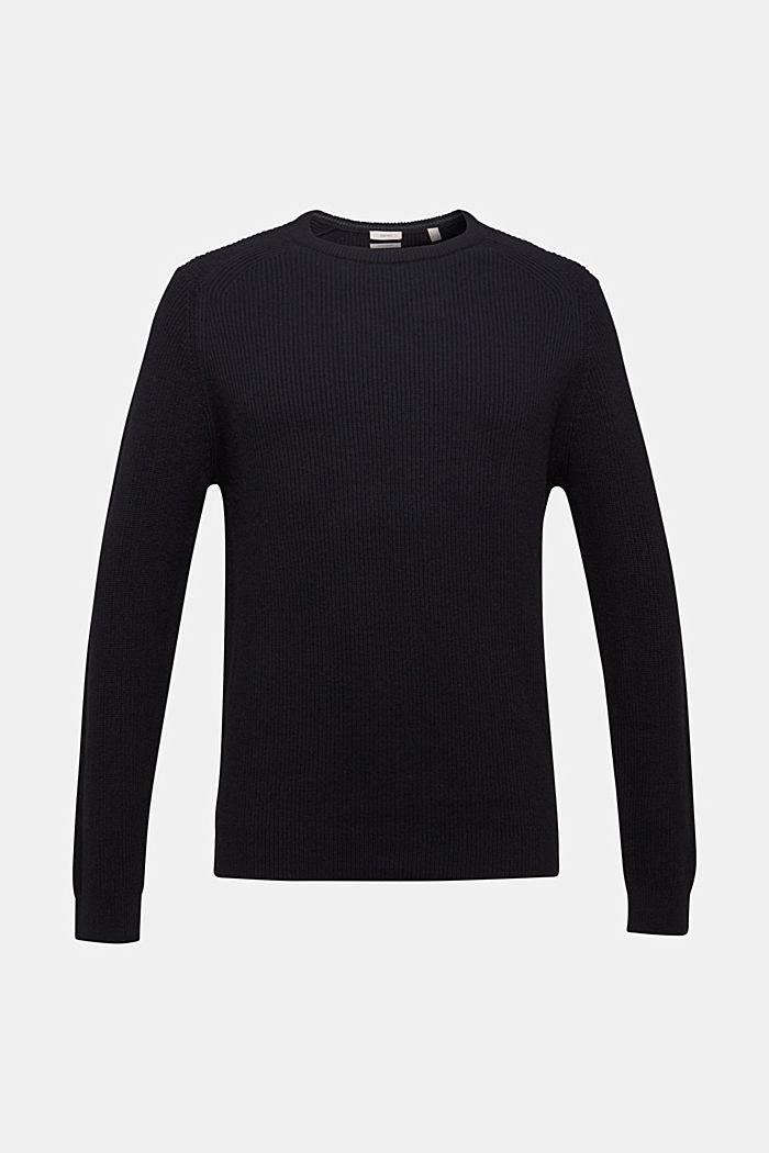 Wool blend: jumper knit in rib stitch, BLACK, detail image number 6