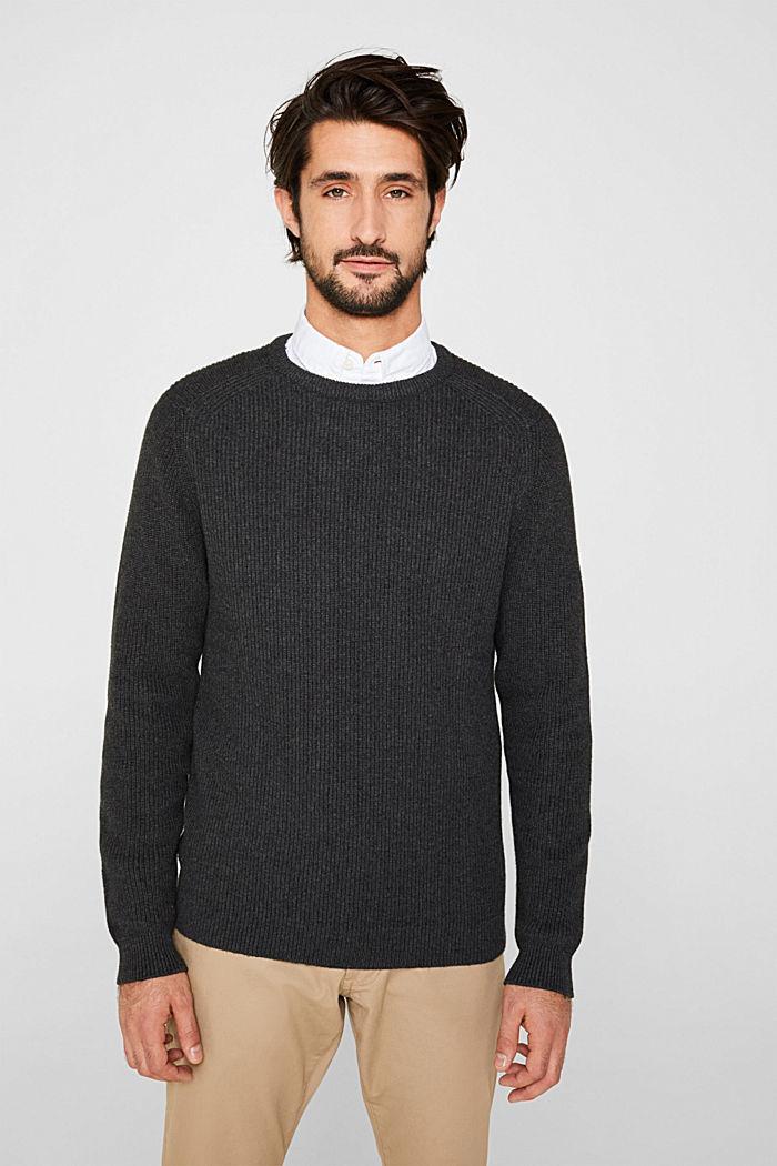 Wool blend: jumper knit in rib stitch, DARK GREY, detail image number 0