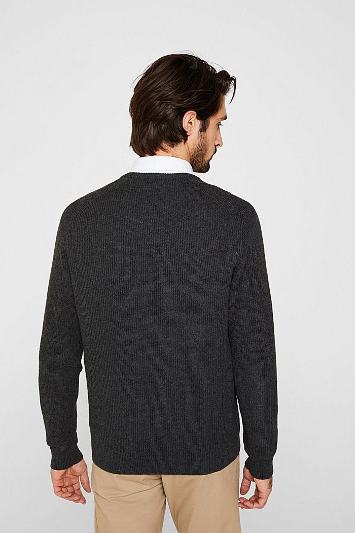 Wool blend: jumper knit in rib stitch, DARK GREY, detail image number 3