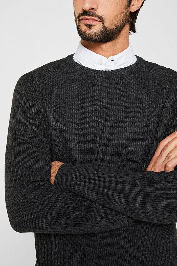 Wool blend: jumper knit in rib stitch, DARK GREY, detail image number 2