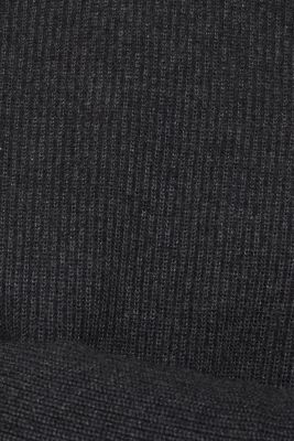 Wool blend: jumper knit in rib stitch, DARK GREY 5, detail