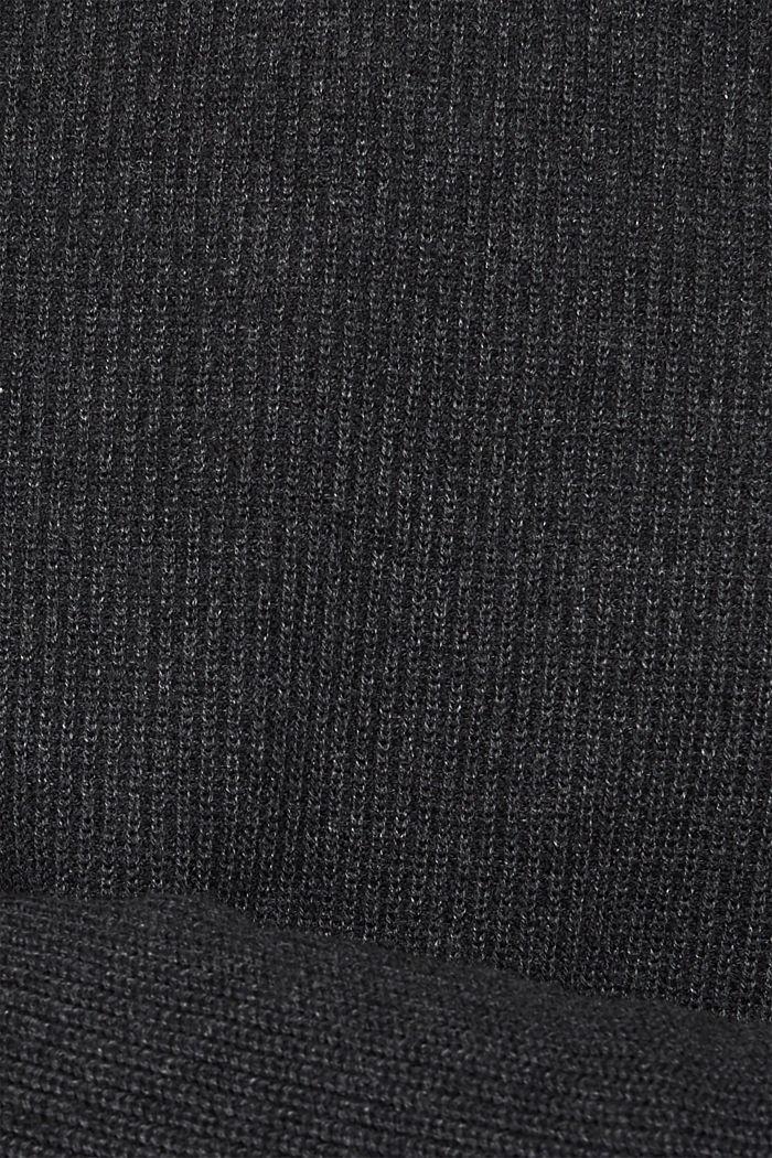 Wool blend: jumper knit in rib stitch, DARK GREY, detail image number 4