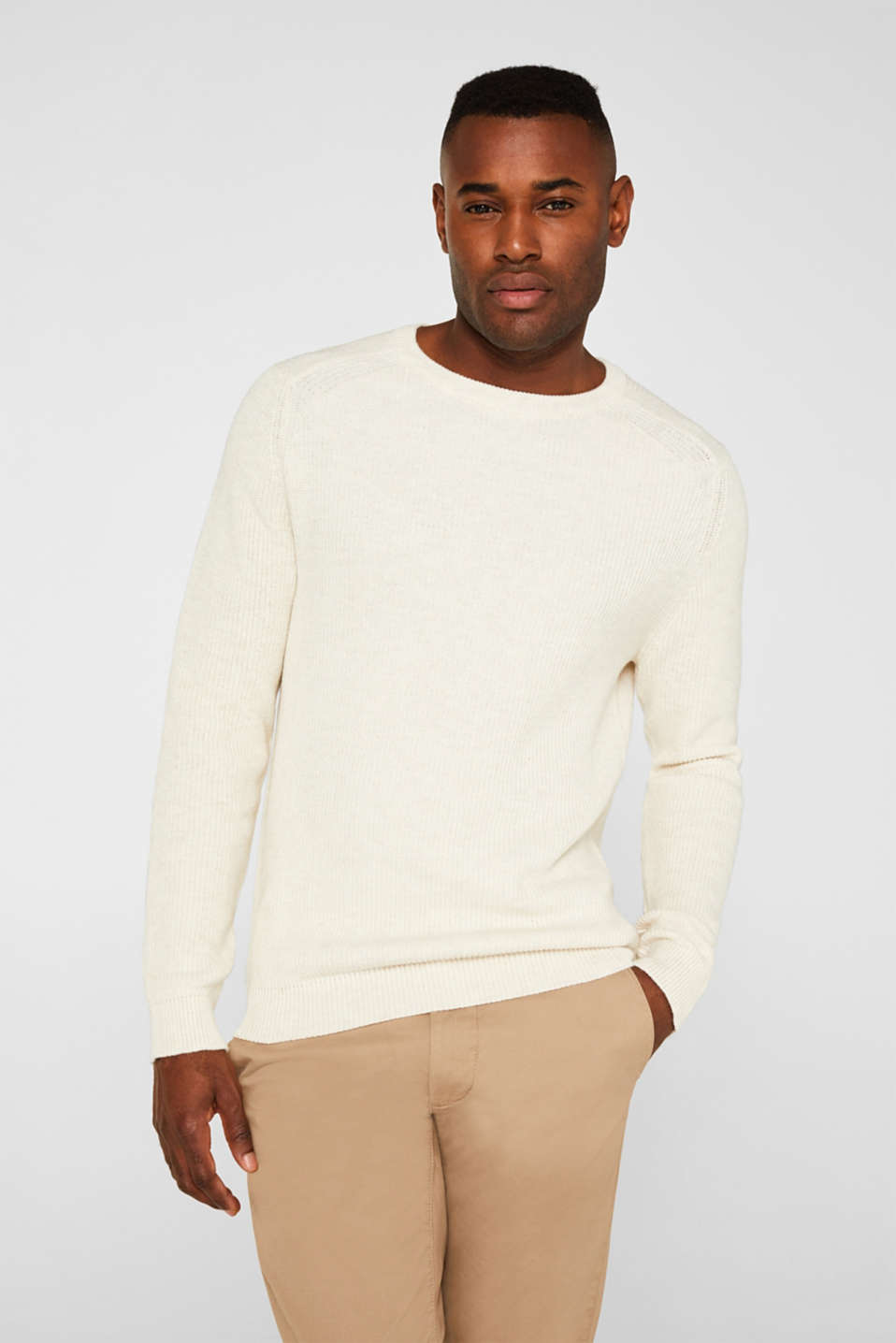 Wool blend: jumper knit in rib stitch, WHITE 5, detail image number 0