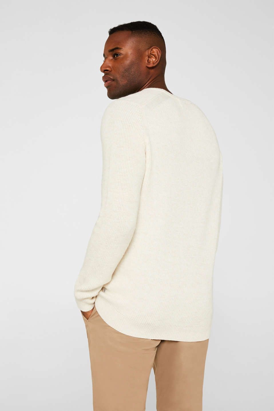Wool blend: jumper knit in rib stitch, WHITE 5, detail image number 3