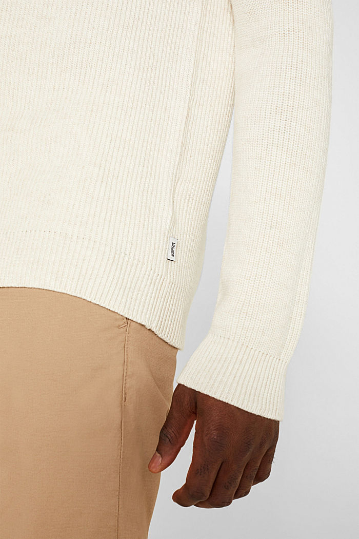 Wool blend: jumper knit in rib stitch, WHITE, detail image number 2