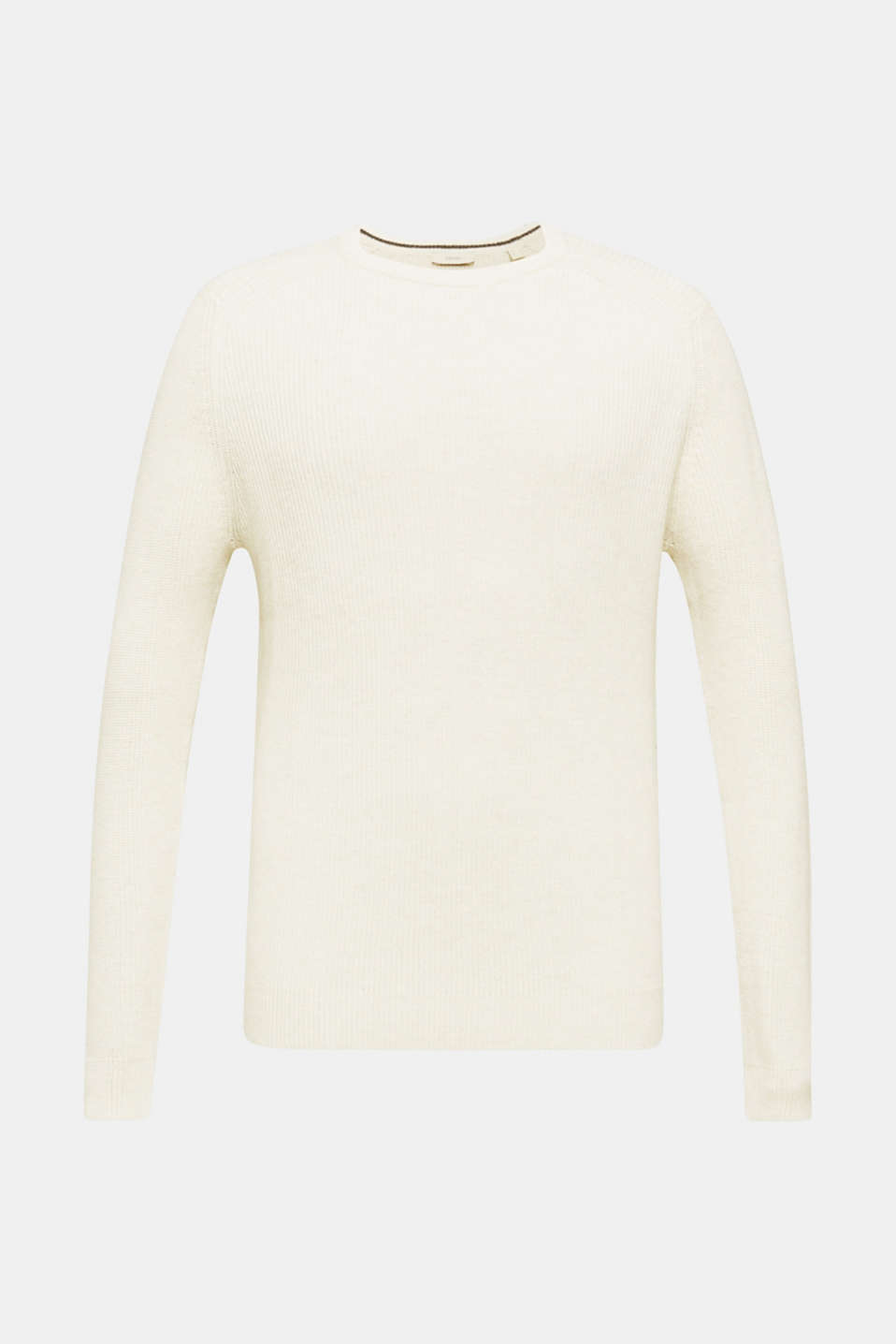 Wool blend: jumper knit in rib stitch, WHITE 5, detail image number 6
