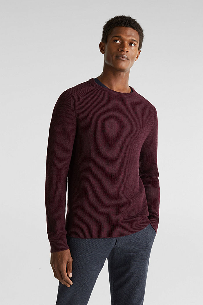 Wool blend: jumper knit in rib stitch, BORDEAUX RED, overview
