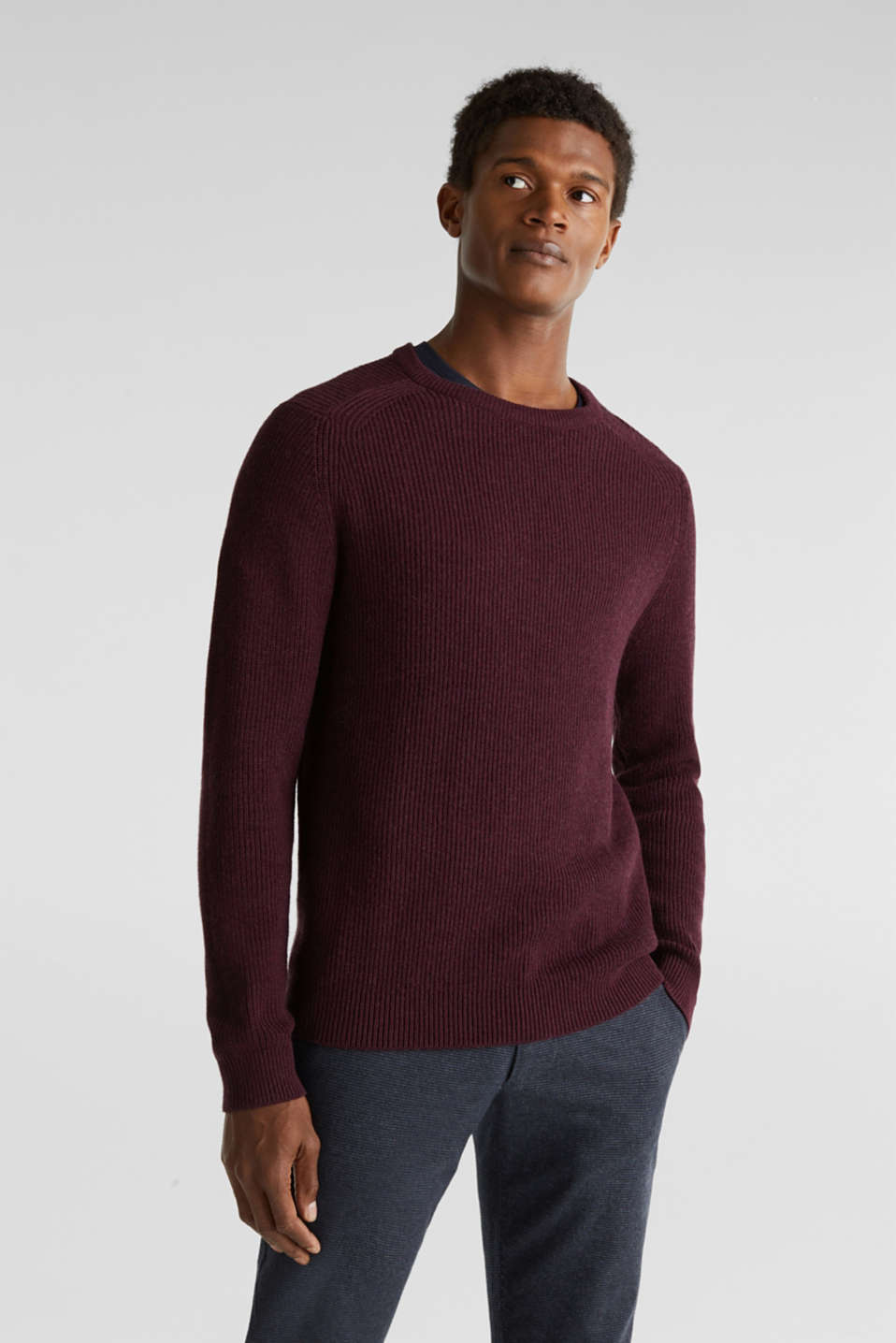 Wool blend: jumper knit in rib stitch, BORDEAUX RED 5, detail image number 0