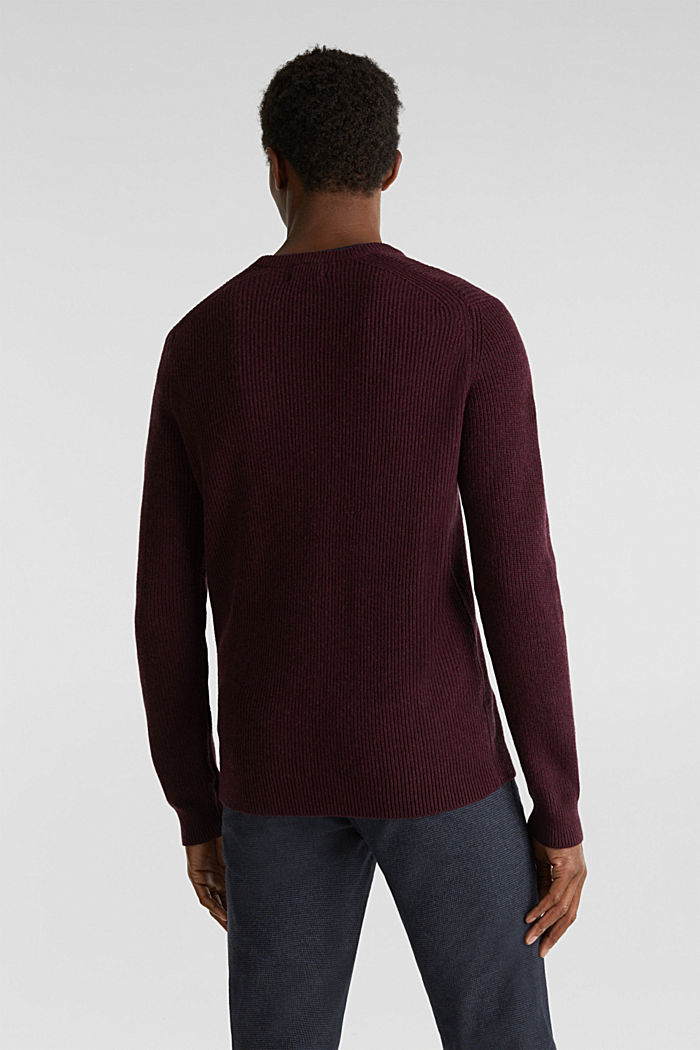 Wool blend: jumper knit in rib stitch, BORDEAUX RED, detail image number 3