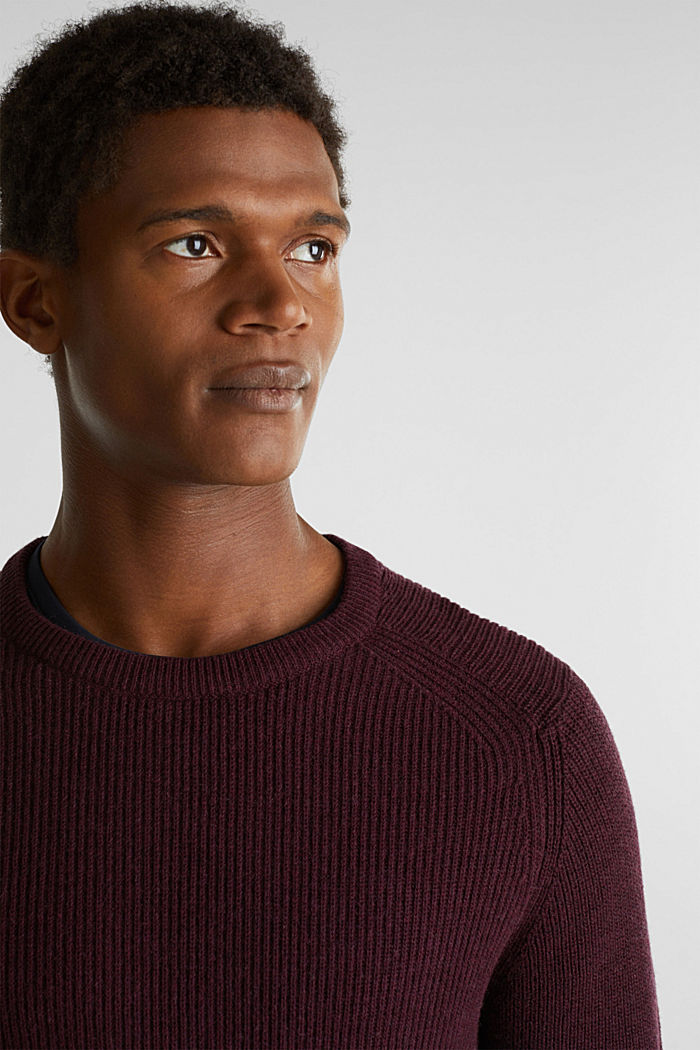 Wool blend: jumper knit in rib stitch, BORDEAUX RED, detail image number 2