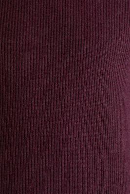 Wool blend: jumper knit in rib stitch, BORDEAUX RED 5, detail