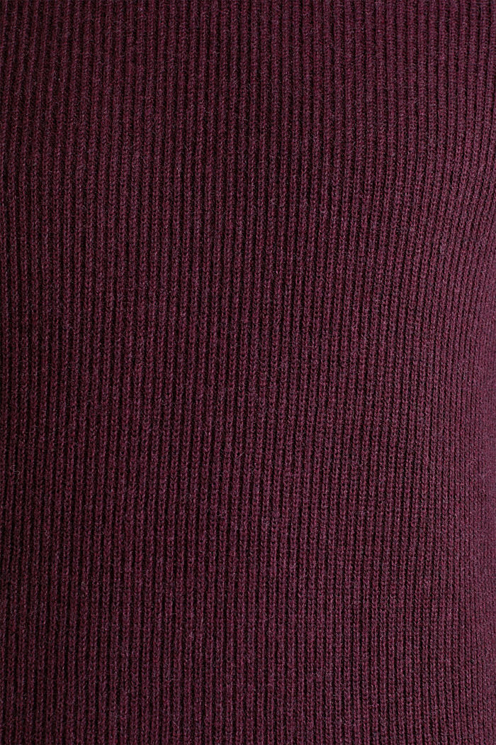Wool blend: jumper knit in rib stitch, BORDEAUX RED, detail image number 4