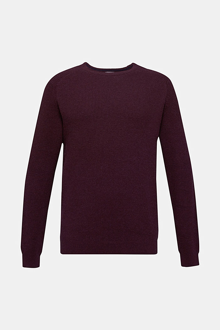 Wool blend: jumper knit in rib stitch, BORDEAUX RED, detail image number 6
