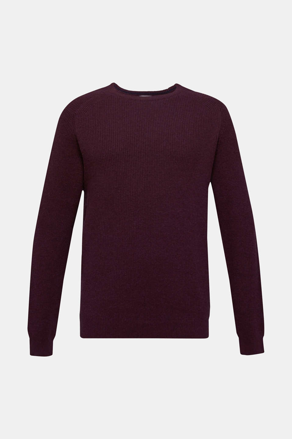 Wool blend: jumper knit in rib stitch, BORDEAUX RED 5, detail image number 6