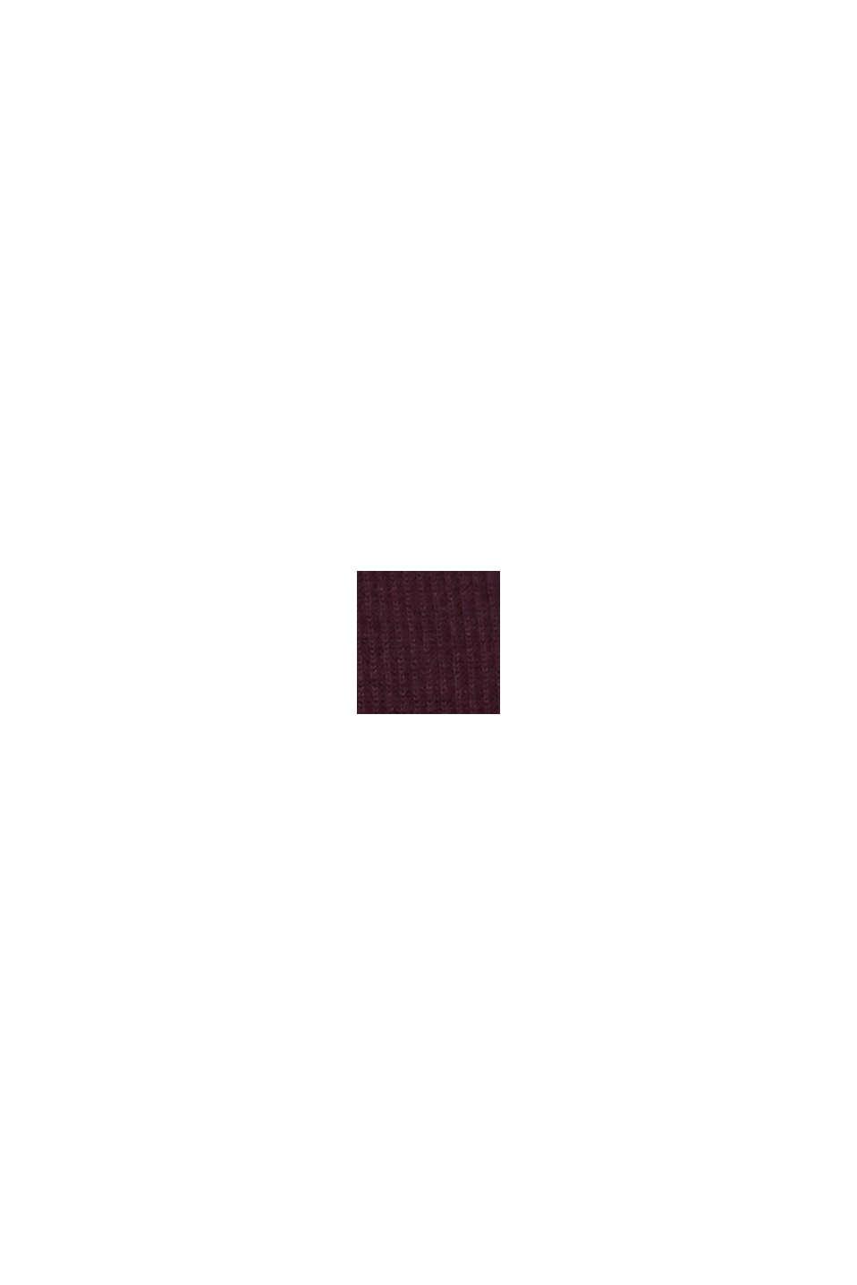Wool blend: jumper knit in rib stitch, BORDEAUX RED, swatch